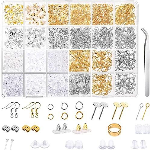 Kaimeilai Kit de reparación de joyería, 2290 Piezas de Acero Inoxidable Pendientes de Bricolaje, Kit de fabricación de aretes, Juego de fabricación de Joyas, para Bricolaje Pendientes Pulsera Collar