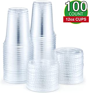 Eupako 12 oz Plastic Cups with Lids 100 Sets Clear Disposable Plastic Party Cups with Flat Lids To Go, Cold Drink Cups, Smoothie Cups, Milkshake Cups