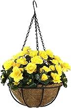Lopkey Outdoor Artificial Red Azalea Bush Flower Patio Lawn Garden Hanging Basket with Chain Flowerpot,Yellow