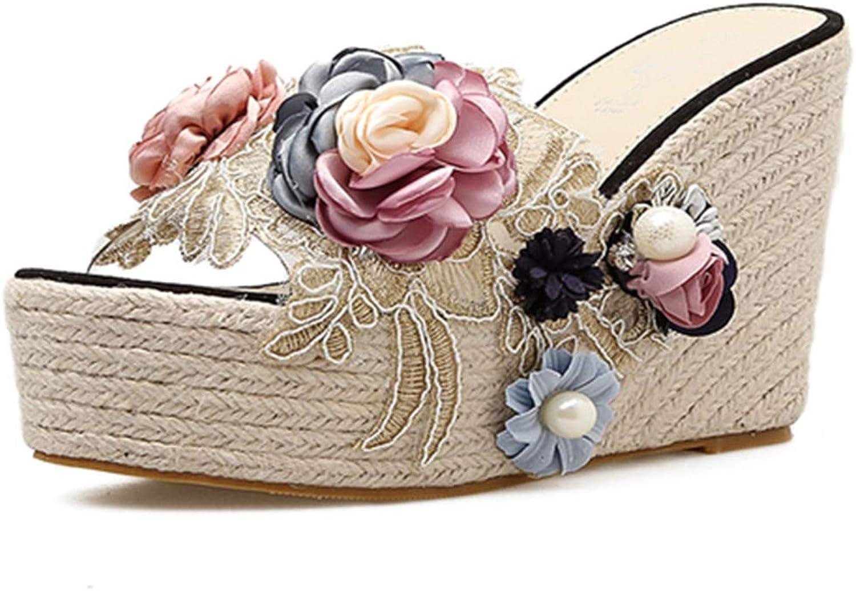DoraTasia Women's Handmade Flower Hemp Rope Pearl Transparent Wedge Heel Slippers Open Toe Espadrille Sandals