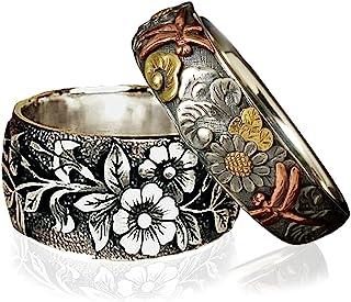 MYLYAHY Flower Rings Set 925 Sterling Silver Sunflower Dandelion Daisy Flower Party Wedding Rings for Women