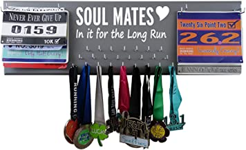 RunningontheWall Valentines Day Runners Medal Rack and Bib Hanger Valentines Gift for Running Lovers, Running Shoes Lover Sole Mates Heart, in it for The Long Run Double Race Bibs Medal Holder