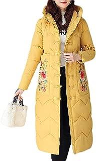 Women Coats Winter Long Down Jacket Warm Slim Button Coat with Fur Hood Outwear