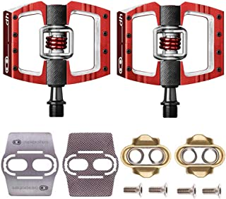 CRANKBROTHERs Mallet Race Pedals Pair, Red (DH Downhill) with Premium Cleats and Bike Shoe Shields Set