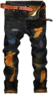 Amoystyle Men's Stylish Ripped Jeans 6 Designs US 29W - 40W