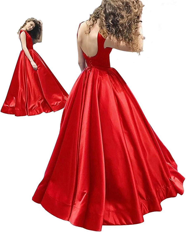 Hjtrust Women's Satin Laceup 2018 Formal Evening Dresses Long Prom Dress Party Gown H038