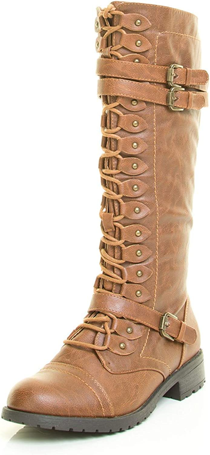 Wild Diva Womens Round Denver Mall Ranking TOP2 Toe Lace Combat Up Calf Military Stud Mid