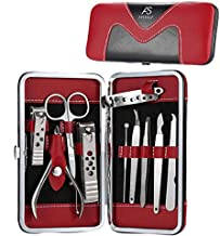 Manicure Set, Anself 10Pcs Stainless Steel Pedicure Kit Nail Clippers with PU Leather Case