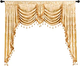 ELKCA Golden Jacquard Swag Waterfall Valance Luxury Curtain Valance for Living Room (Damask-Golden, W59 Inch, 1 Panel)
