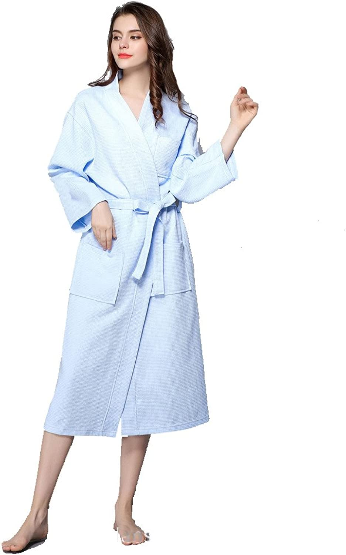 Kimono Bathrobe Cotton Waffle Weave Robes Knee Length Hotel Spa Robe Travel
