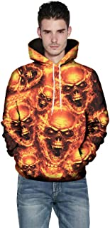 MakeupStore Men Sweatshirts Full Zip Mens 3D Printed Skull Pullover Long Sleeve Hooded Sweatshirt Tops Blouse