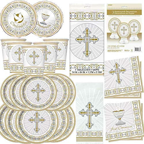 Boys Girls 1st First Holy Communion Party Tableware Decorations Royal Gold White (8PK 9OZ Cups)