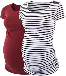 Love2Mi Womens Mama Maternity Tunic Tops Side Ruched...