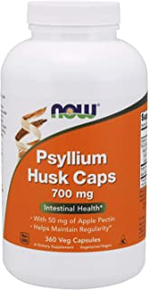 NOW Supplements, Psyllium Husk Caps 700 mg with 50 mg of Apple Pectin, Intestinal Health*, 360 Veg Capsules