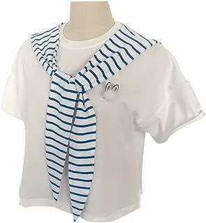 Navy Style Striped False Collar Shawl Rabbit Ear Shaped False Shawl Collar, Blue