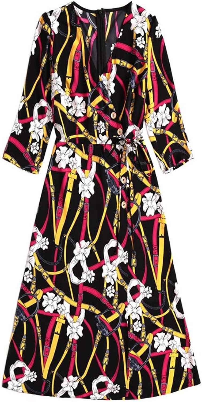 Printed Laceup Elegant Bow Slim VNeck FivePoint Sleeve Women's Dress Party Dress Cocktail Dress Party Dress (color   Photo Colo, Size   M)