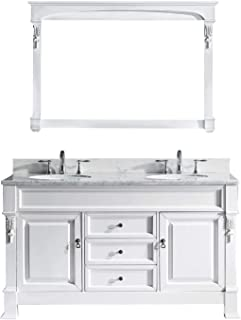 Virtu USA Huntshire 60 inch Single/Double Sink Bathroom Vanity Set in White w/Round Undermount Sink, Italian Carrara White Marble Countertop, No Faucet, 1 Mirror - GD-4060-WMRO-WH
