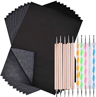 SENHAI 100 Sheets Carbon Transfer Paper & 10 Pcs Double Ended Embossing Stylus Set for Drawing, Sketching, Pottery Clay Cr...