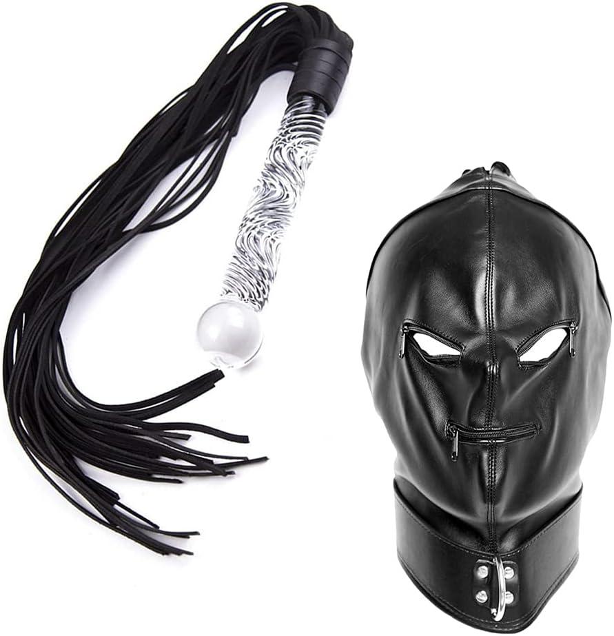 BDSMS Restraints List price Kit Austin Mall Leather Bondage Glas Mask Whip with