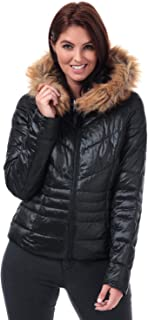 Vero Moda Womens Soraya SIV Faux Fur Trim Jacket in Black.