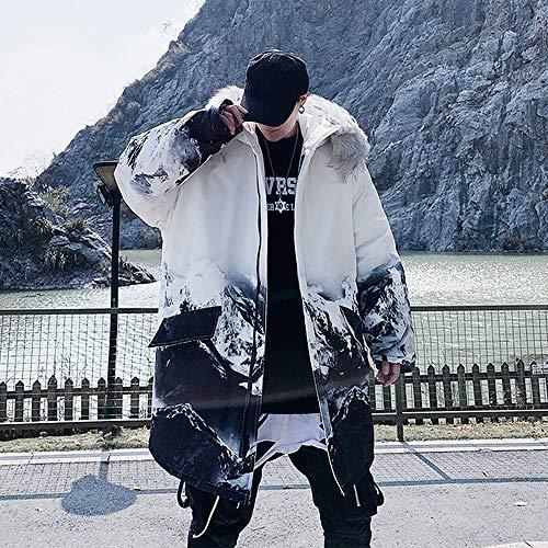 IHCIAIX Daunenjacke für Herren,Herren Hooded Oversized Hooded Coat Warmer Winter Harajuku Streetwear Koreanische Mode Kleidung Long Coat Windbreaker Jacke, Weiß, XL