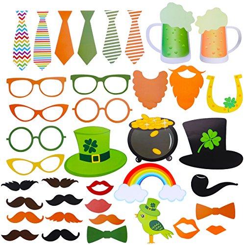 Amosfun St. Patrick's Day Fotorequisiten Fotoaccessoires Bart Hut Irisch St Patrick's Tag Party Fotobooth Zubehör Dekoration 37 Stück