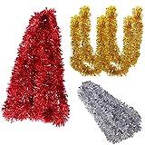Xiuyer 30m Guirnalda Oropel Navidad Chunky Espumillón Rojo Plata Oro Oropeles Navidad Guirnalda Adornos Decoraciones para Techo Navidad