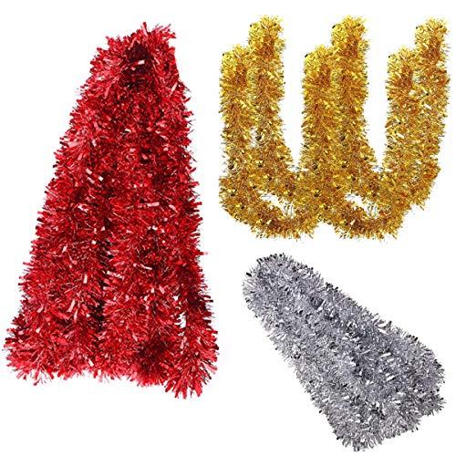 Xiuyer Tinsel Natale, 30m Gold Silver Shiny Christmas Tree Tinsel Ghirlanda Rosso Luccicante Albero Natale Decorazione per Albero Natale Forniture