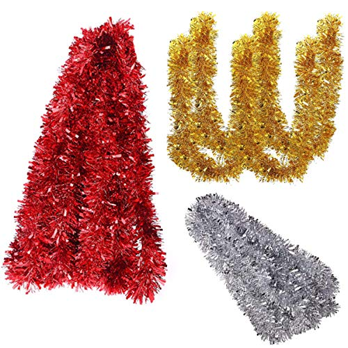 Xiuyer Tinsel Natale, 30m Gold Silver Shiny Christmas Tree Tinsel Ghirlanda Rosso...