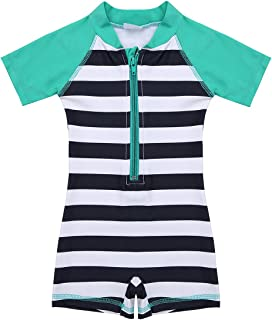 CHICTRY Baby Boy Girl One-Piece Stripes Sun Protective Swimsuit Rash Guard Swim Set