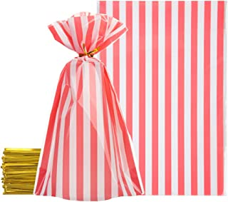 Pink Cellophane Bags 5.5x8 inch with Twist Ties for Treat Candy Cookie Party Favor Bags, Pink and White Stripes,Pack of 100