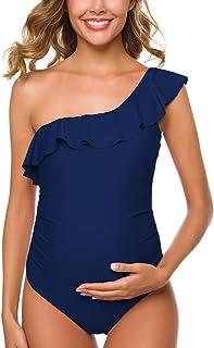 Ziola Women One Piece Maternity Swimsuits One Shoulder...