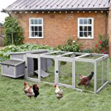 103in Large Chicken Coop Outdoor Wooden Chicken House, Hen House Poultry Cage for 4-6 Hens with Nest Box (Grey+Camel)