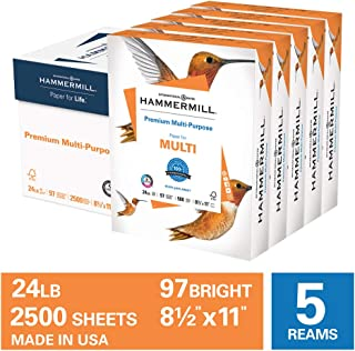 Hammermill Premium Multi-Purpose 24lb Copy Paper, 8.5 x 11, 5 Ream, 2,500 Sheets, Made in USA, Sustainably Sourced From American Family Tree Farms, 97 Bright, Acid Free, Printer Paper, 105810C