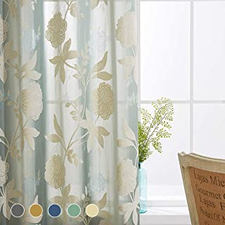 Cherhoo Premium Semi-Sheer Floral Embroidered Flocked Curtains for Bedroom/Living Room with Large Rust Floral Design Damask Semi-Sheer Grommet Curtains (2 Panels, 52W×84 Inch Length, Green)
