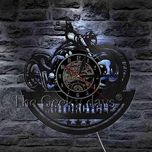 CCGGG Silueta de Motocicleta decoración de Sombra Reloj de Pared 3D diseño Moderno decoración Mural Disco de Vinilo Reloj de Pared Regalo para los Amantes de la Motocicleta