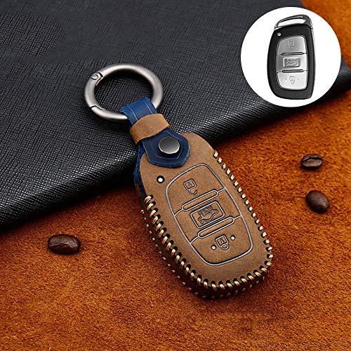 ZYHYCH Funda de Cuero para Llave Inteligente para Coche, Apta para Hyundai I30 IX35 Kona Solaris Verna Azera Accent Santafe Tucson Mistra Elantra, Tipo B marrón