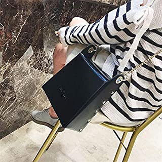 DXFEEL Single Shoulder Bags Leisure Fashion PU Leather Chain Slant Shoulder Bag (Black)