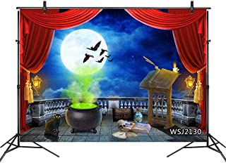 LB Halloween Backdrop 7x5ft Fabric Black Cat Bat Witch Cauldron Witchy Full MoonPhoto Backdrop for Halloween Party Portrait Photoshoot Photo Booth Backdrop Props,Washable