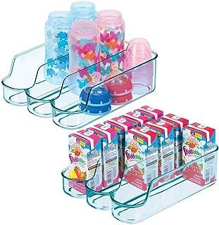 mDesign rangement cuisine à 3 compartiments (lot de 2) – petit bac alimentaire en plastique pour aliments d'enfants, conse...