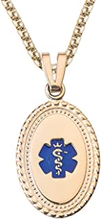 Custom Engraved-PVD/Stainless Premier Disc Tag Medical Alert Necklace, Medical ID Necklace Women, Medical Pendant Tag and (24/28 in)