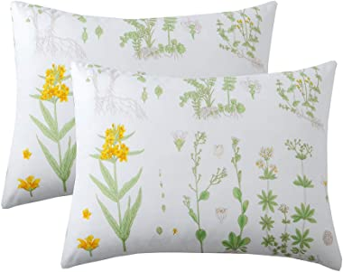 Menae Pack of 2 Floral Pillow Cases-Green with Yellow Botanical Flowers Bed Pillowcases Set with Envelope Closure End -(King
