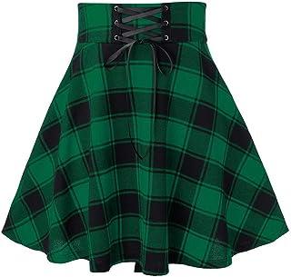 XIANGLIOOD - Minigonna da donna a quadri a vita alta, svasata, a pieghe, rossa e nera Verde XL