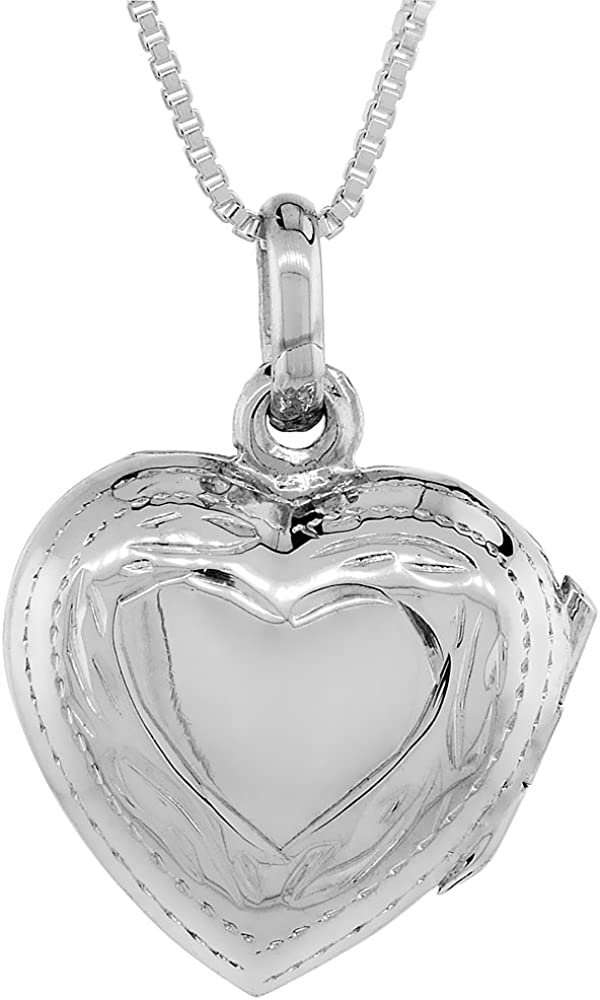 Small Sterling Max 63% OFF free Silver Hand Engraved Heart 16mm in. 5 8 Locket