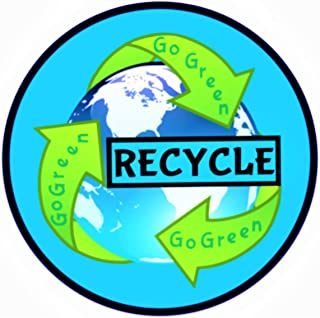 Go Green Bumper Stickers for Cars - Recycle Sticker for Trash Cans Large - Premium Recycle Decal ~ 1-Pack Recycling Sticker ~ Home Office Save the Earth Go Green Stickers ~ Recycle Decals ~ 4