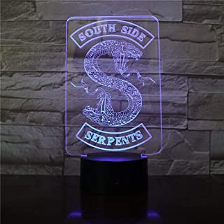 Badge Riverdale serpent Logo 3D LED veilleuse côté sud Serpents décor signe choses Riverdale accessoires lampe de Table co...