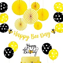Set of 18 JeVenis Happy Bee Day Banner Happy Bee Day Cake Topper Bumble Bee Baby Shower Decoration Bumble Bee Balloons for Baby Shower 1st Birthday Bumble Bee Decor Bee Party