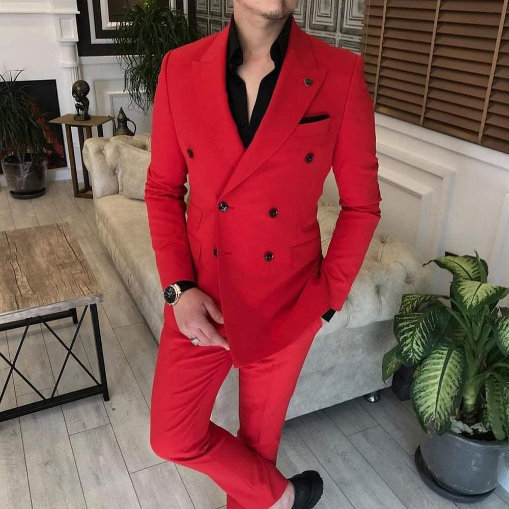 Men's Suit Slim Fit Formal Double Breasted 2 Piece Business Tuxedos for Wedding