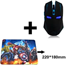 2.4 GHz Wireless Mouse, Six-Button Silent Iron Man Mouse with 1200/1600/2400 Adjustable Mouse for Desktop/Laptop/PC (Black with Mouse pad)