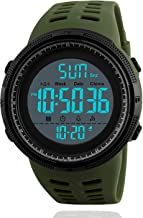 Mens Digital Sports Watch, Military Waterproof Watches Fashion Army Electronic Casual Wristwatch with Luminous Calendar Stopwatch Alarm LED Screen